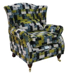 Wing Chair Fireside High Back Armchair Malibu Lime Fabric