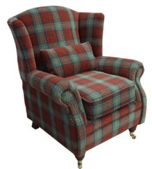 Wing Chair Fireside High Back Armchair Lana Terracotta Check Fabric