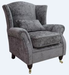 Wing Chair Fireside High Back Armchair Nuovo Ash Grey Fabric