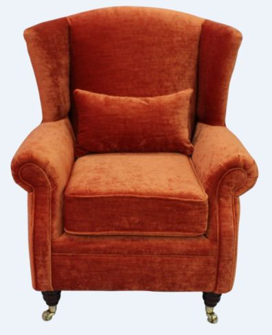 Wing Chair Fireside High Back Armchair Pastiche Burnt Orange Velvet