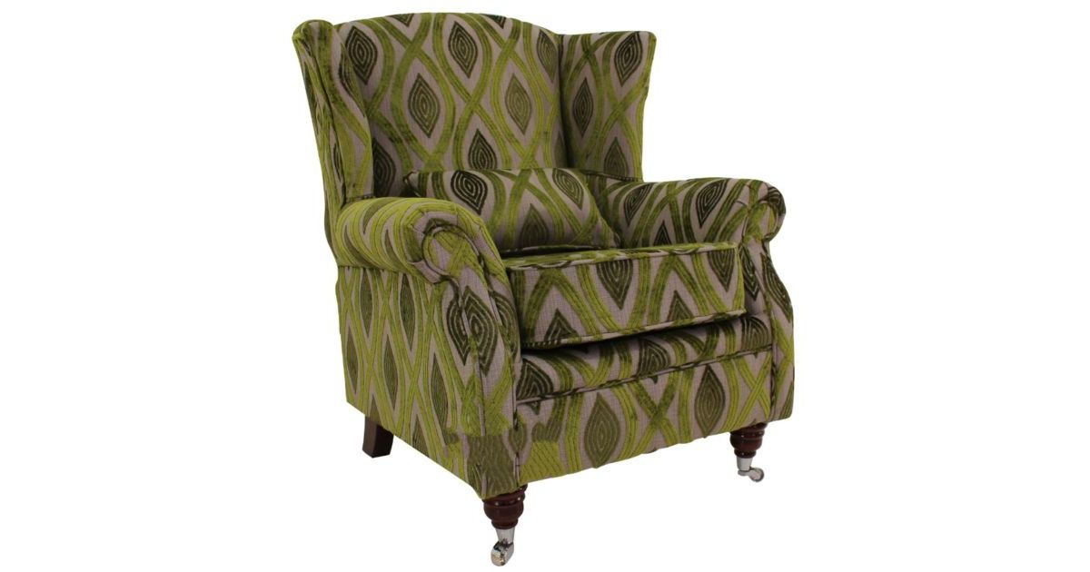 Wing Chair Fireside High Back Armchair Cavalli Guava Green