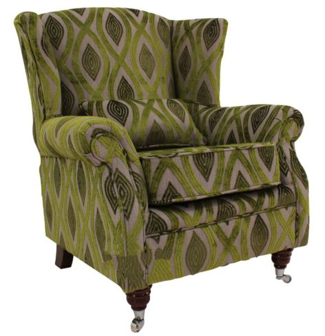 Wing Chair Fireside High Back Armchair Cavalli Guava Green Velvet