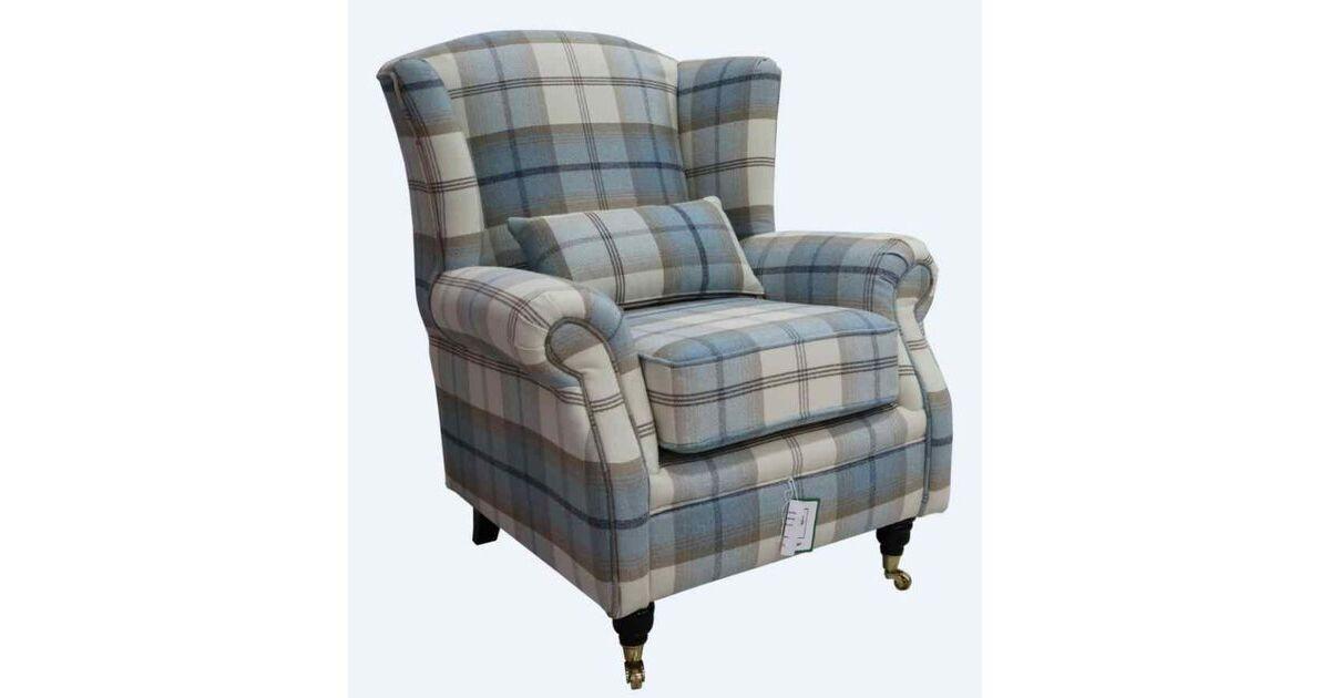 Wing Chair Fireside High Back Armchair Balmoral Sky Check