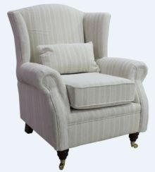 Wing Chair Fireside High Back Armchair Tempo Stripe Natural Fabric