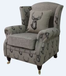 Wing Chair Fireside High Back Armchair Antler Stag Chocolate
