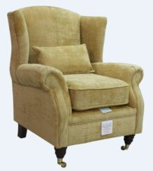 Wing Chair Fireside High Back Armchair Velluto Gold Fabric
