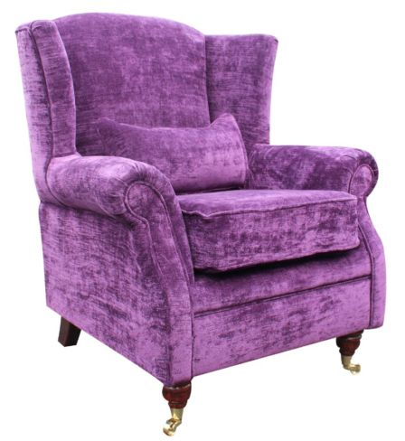 Wing Chair Fireside High Back Armchair Velluto Amethyst Purple Fabric