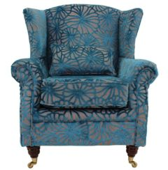 Wing Chair Fireside High Back Armchair Lalique Vellum Velvet
