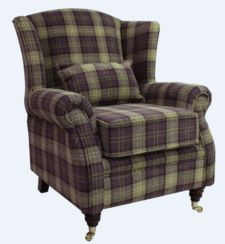 Wing Chair Fireside High Back Armchair Lana Purple Check Fabric