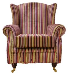 Wing Chair Fireside High Back Armchair Riga Stripe