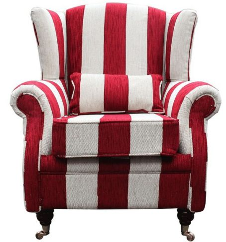 Wing Chair Fireside High Back Armchair Harrison Stripe Ruby