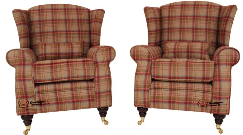 2 x Arnold Wool Tweed Wing Chairs Fireside High Back Armchairs Heritage Scarlet Check Fabric