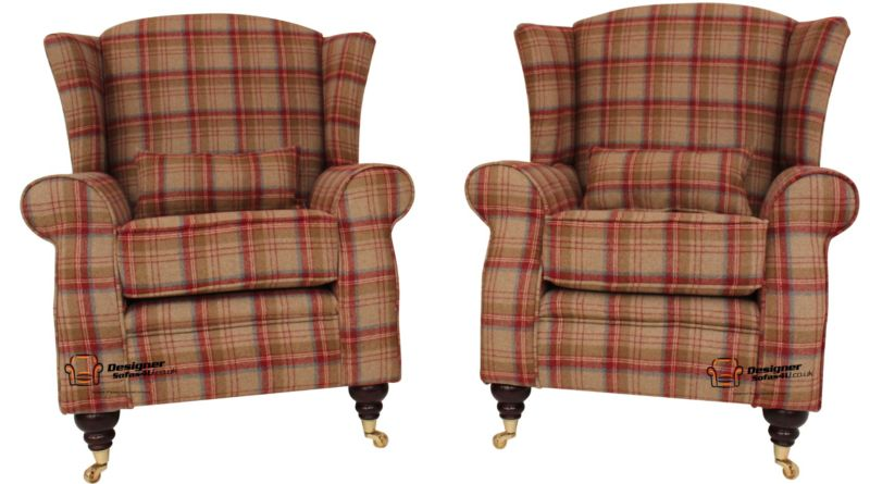 2 x Arnold Wool Tweed Wing Chairs Fireside High Back Armchairs…