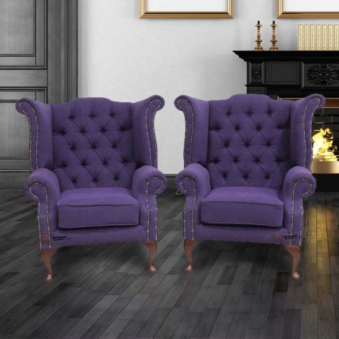 2 x Chesterfield Purple Queen Anne High Back Wing Chairs Verity
