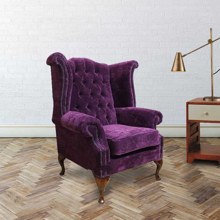 Chesterfield Fabric Newby High Back Wing Chair Amethyst