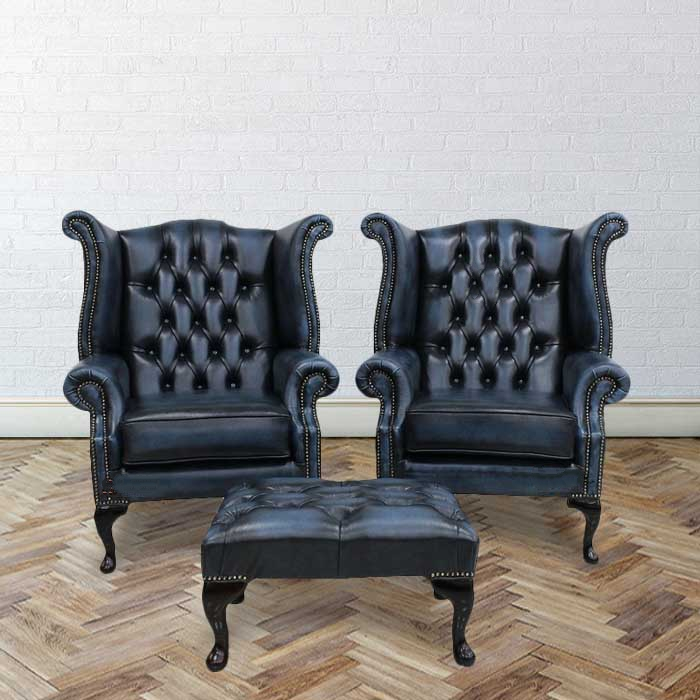 Designer Leather Chairs: Blue Chesterfield High Back Chair + Footstool
