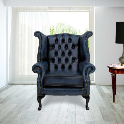 Chesterfield Queen Anne High Back Wing Chair Antique Blue Leather