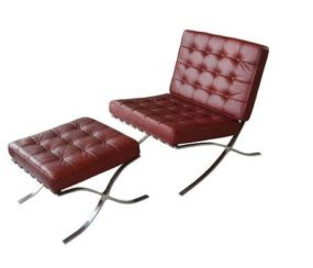 Barcelona Leather Chair & Footstool