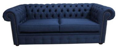 Chesterfield 3 Seater Settee Charles Linen Midnight Blue Sofa Offer