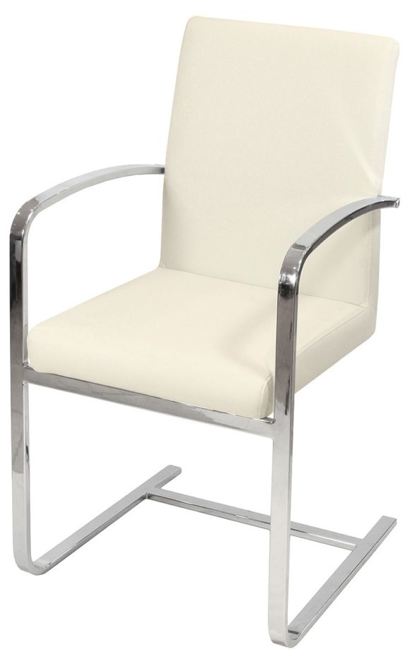 Sprung Steel Dining Carver Chair Cream