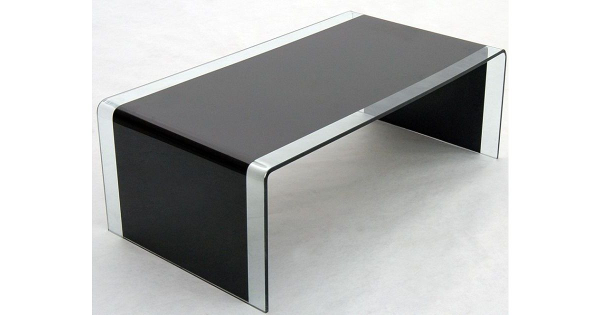 Angola Black Glass Coffee Table in Black & Clear Glass