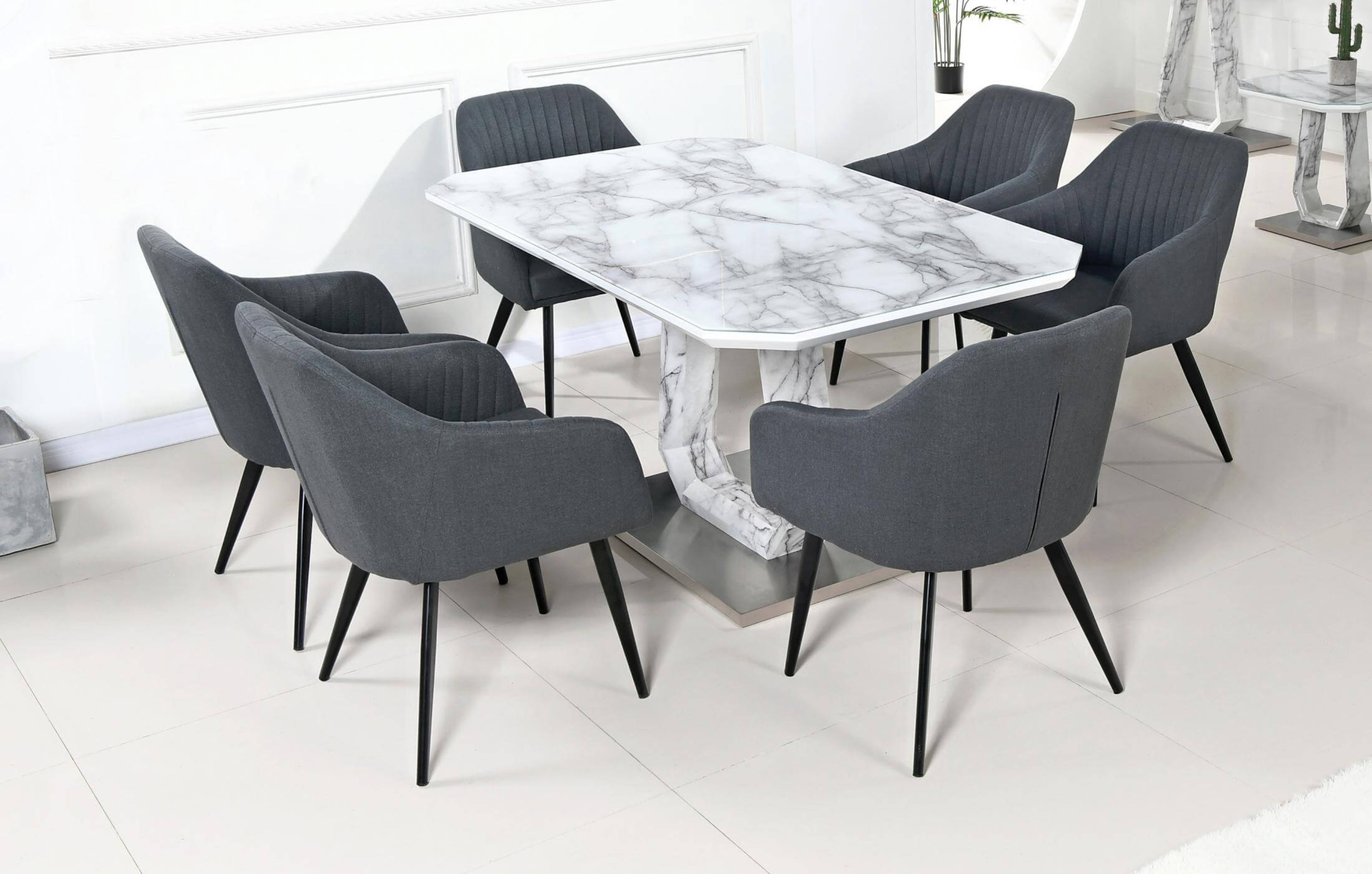 Arvid Marble Effect Glass Top Stainless Steel Base Dining Table Designer Sofas4u