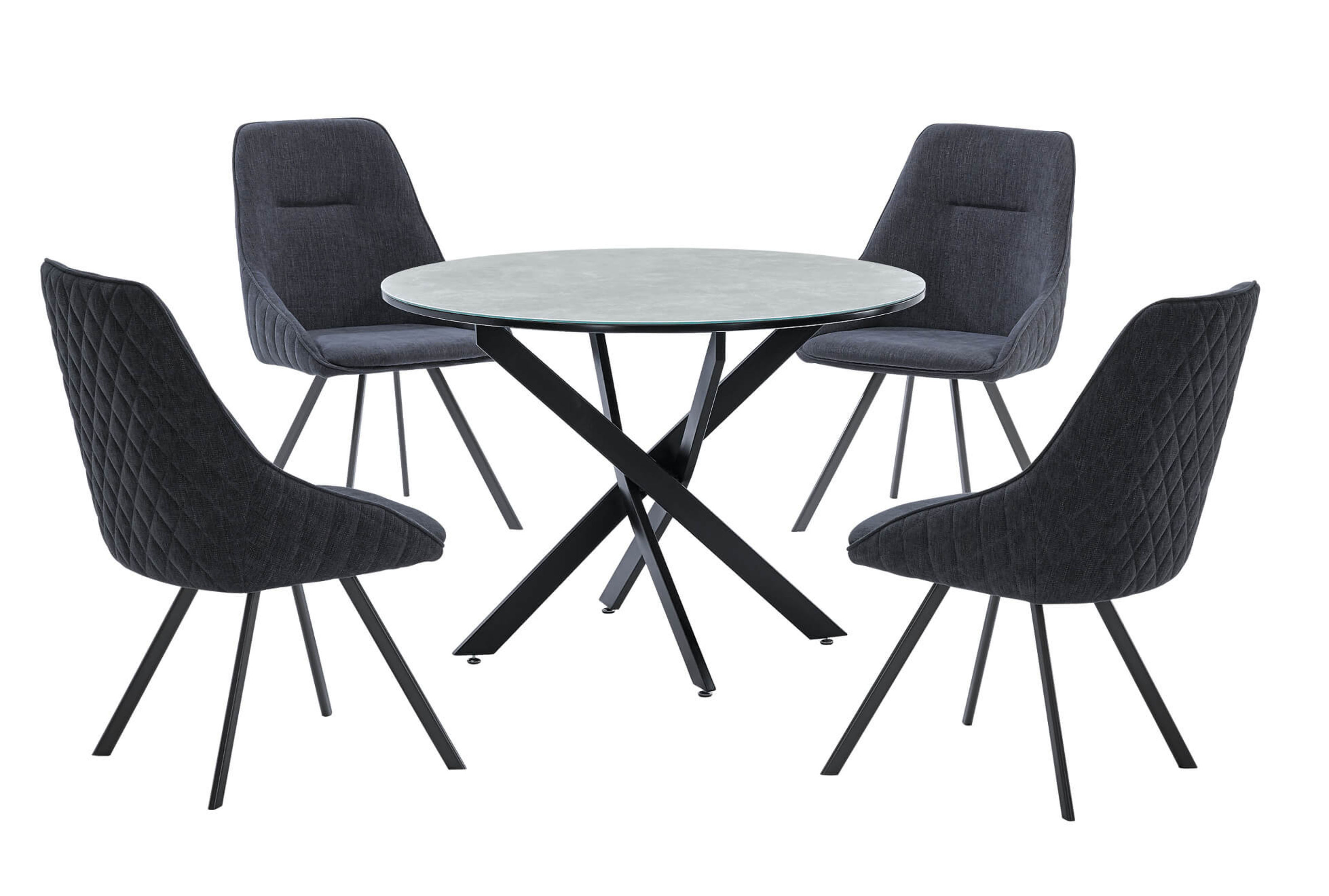 Battista Round Marble Effect Glass Top Dining Table With Black Metal Legs Designer Sofas4u