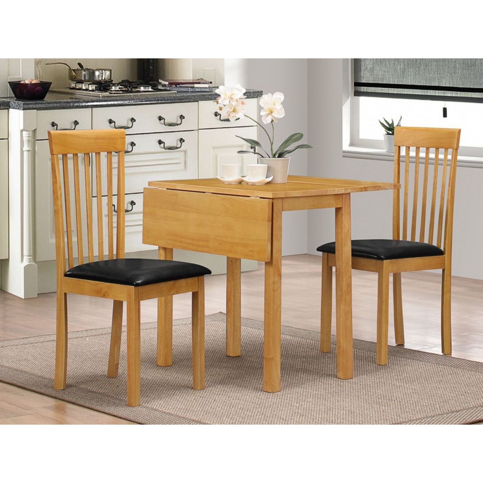 Atlas Drop Leaf Dining Table Set And 2 Chairs Oak Or Natural