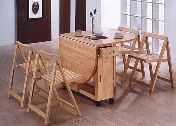 Butterfly Drop Leaf Dining Table Set With 4 Dining Chairs