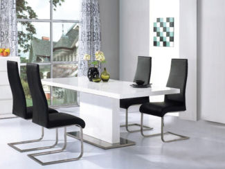 Chaffee High Gloss Dining Table Set With 4 Black Or White Dining Chairs