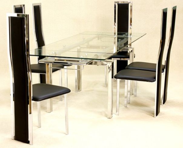 Crystal Extending Dining Table in Clear Glass with 6 Trinity Dining Chairs