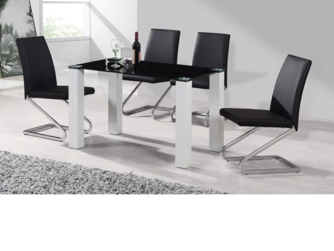 Delta High Gloss Dining Table Set With 4 Black Or White Dining Chairs