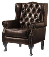 Dorchester Buttoned Faux Leather High Back Wing Chair Brown