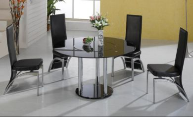 Durban Black Glass Round Dining Table With 4 Chrome Black Or Cream Chairs