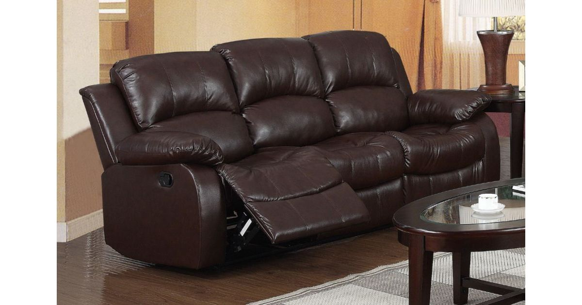 Carlino Recliner 3 Seater Sofa Brown Leather