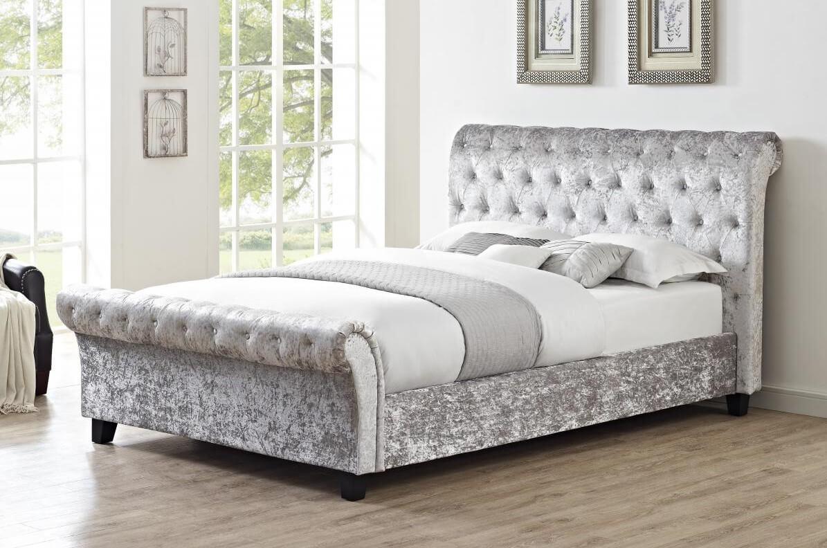 Casablanca Hfe Crushed Velvet Double Bed Grey