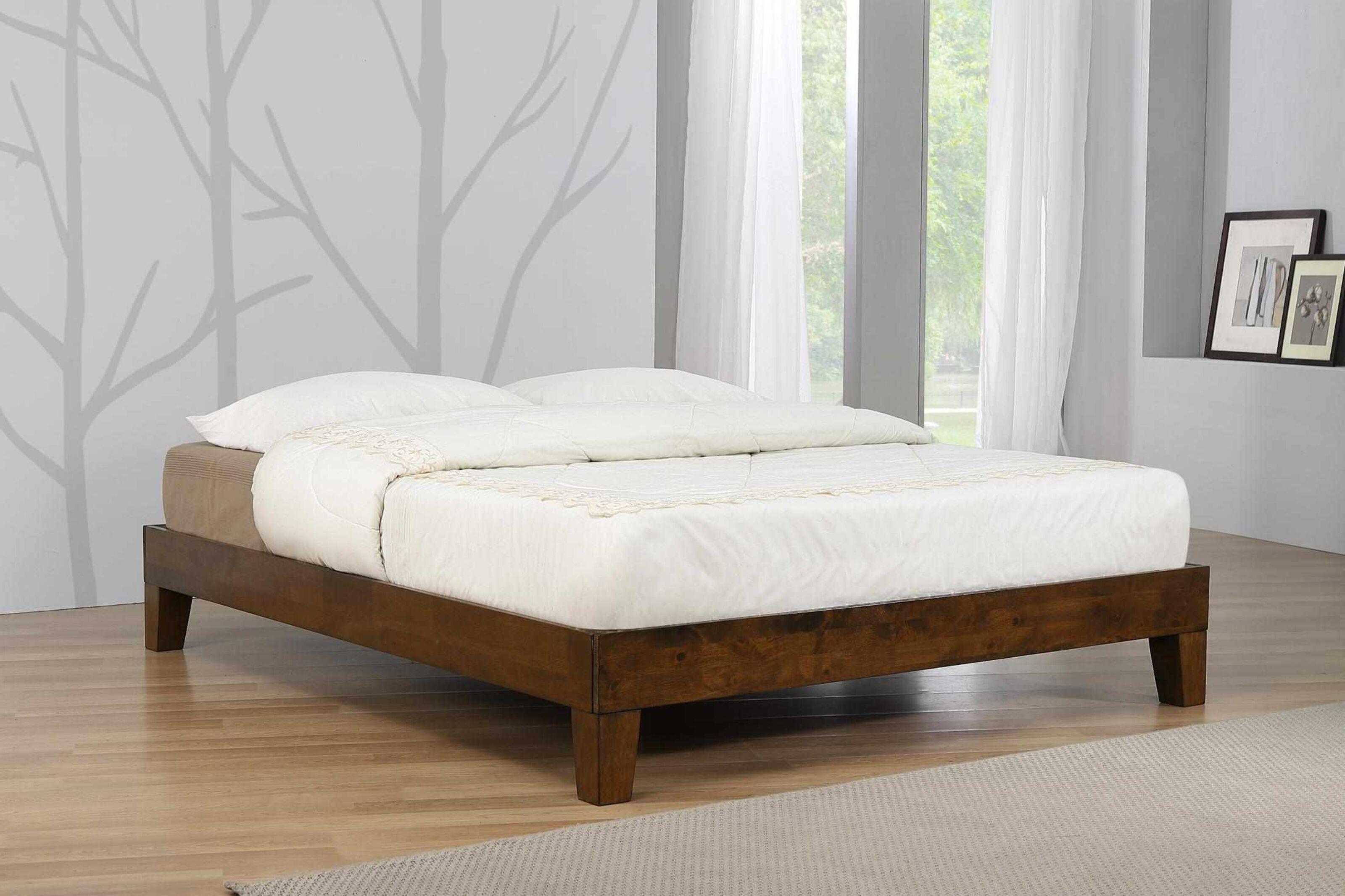Flavia Solid Wood Platform King Size Bed With Rustic Oak Finish Designer Sofas4u