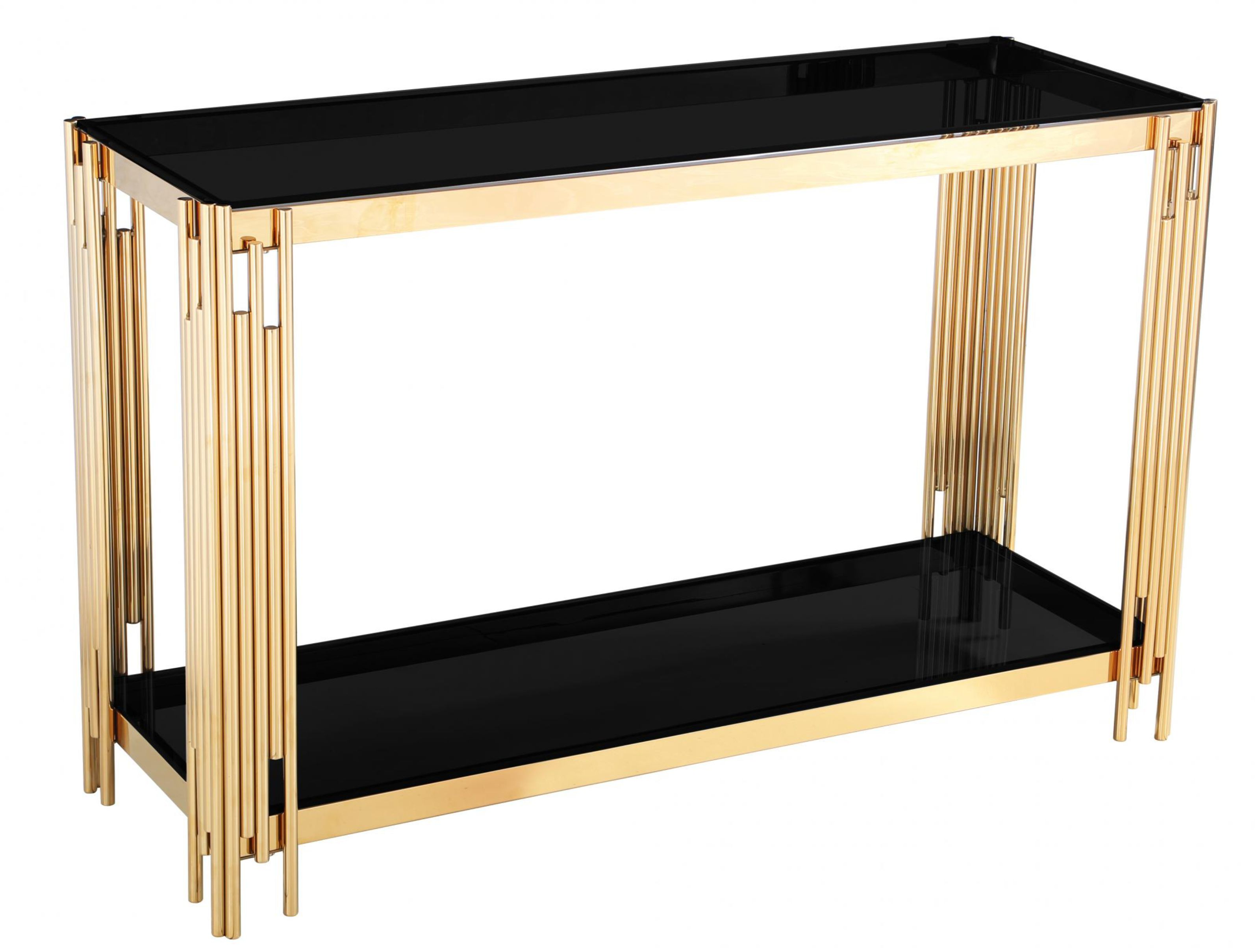 Picture of: Geonna Black Glass Top Console Table With Gold Frame Designer Sofas4u