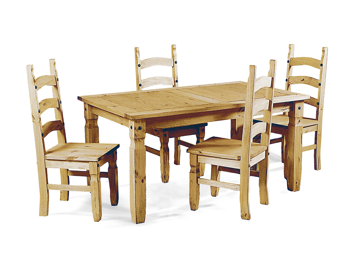 Gian Distressed Solid Small Dining Set With 4 Chairs With Waxed Light Pine Finish Designer Sofas4u