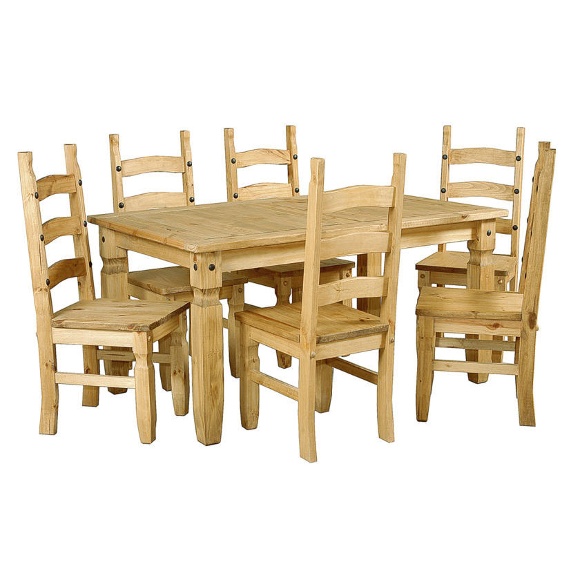 Corona 6 ft Dining Table Set With 6 Dining Chairs