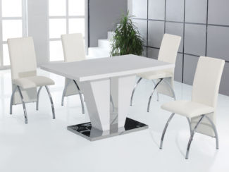 Costilla High Gloss Dining Table Set With 4 Black Or White Dining Chairs