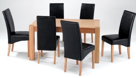Cyprus Large Dining Table in Solid Ashwood with 6 Chairs