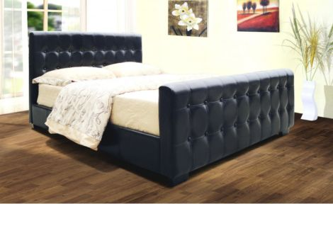 Dakar 4'6'' Double Bedstead Available in Black Or Brown Faux Leather