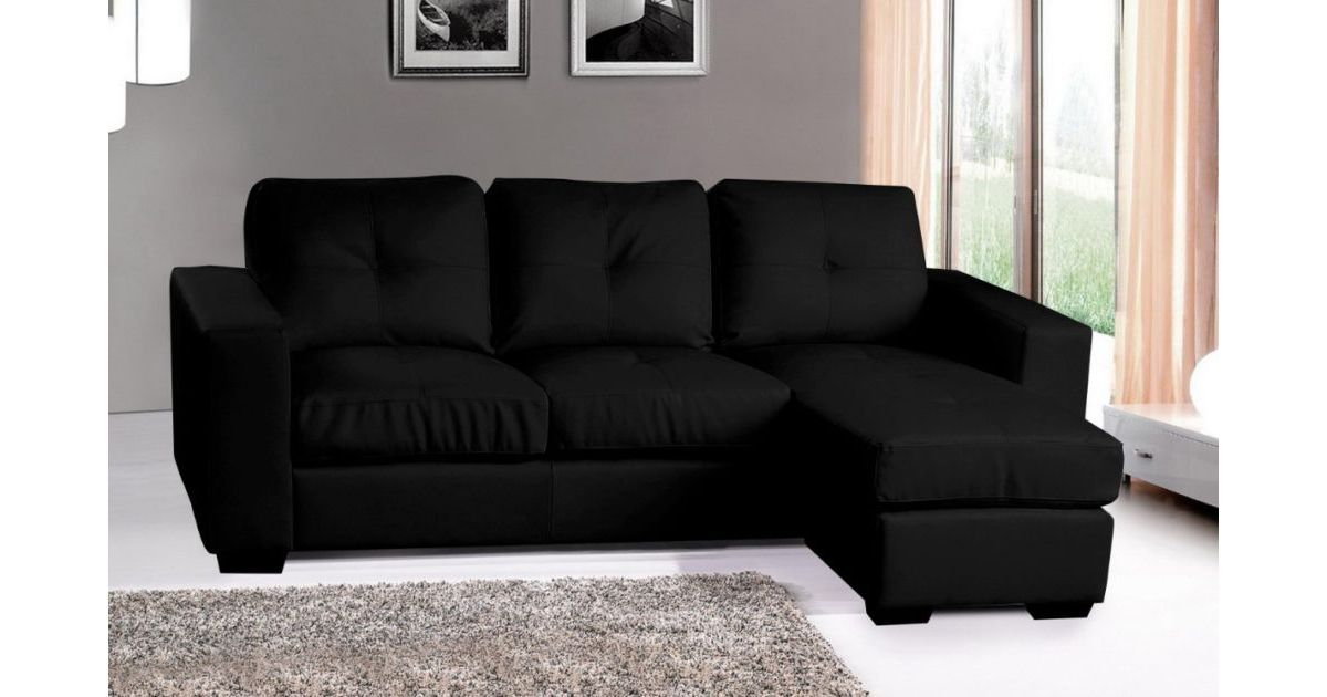 Diego Corner Group Sofa Black Leather