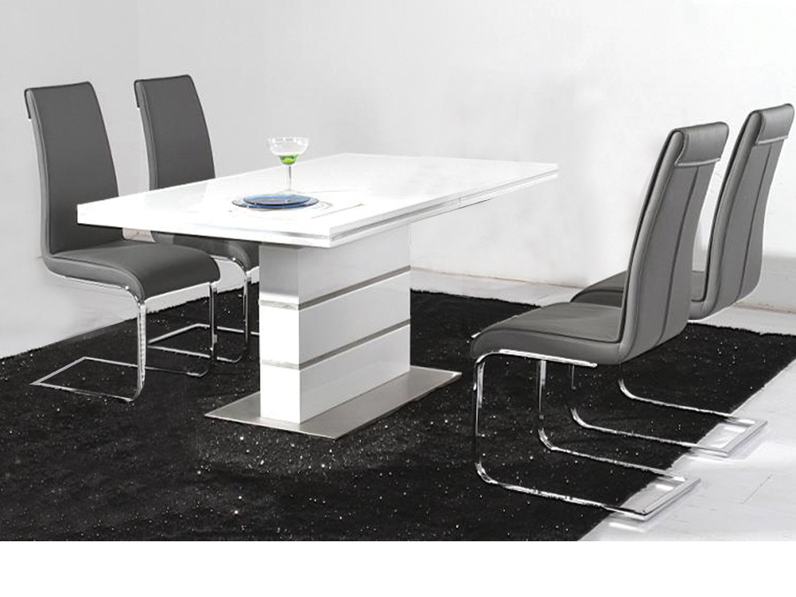 Guillelmina White High Gloss Dining Table With Stainless Steel Base Designer Sofas4u