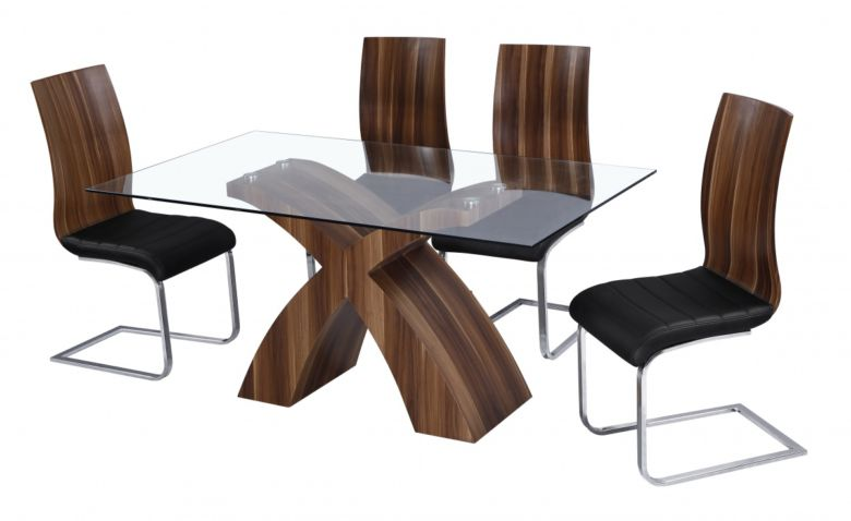 Holte Glass Dining Table Walnut Colour