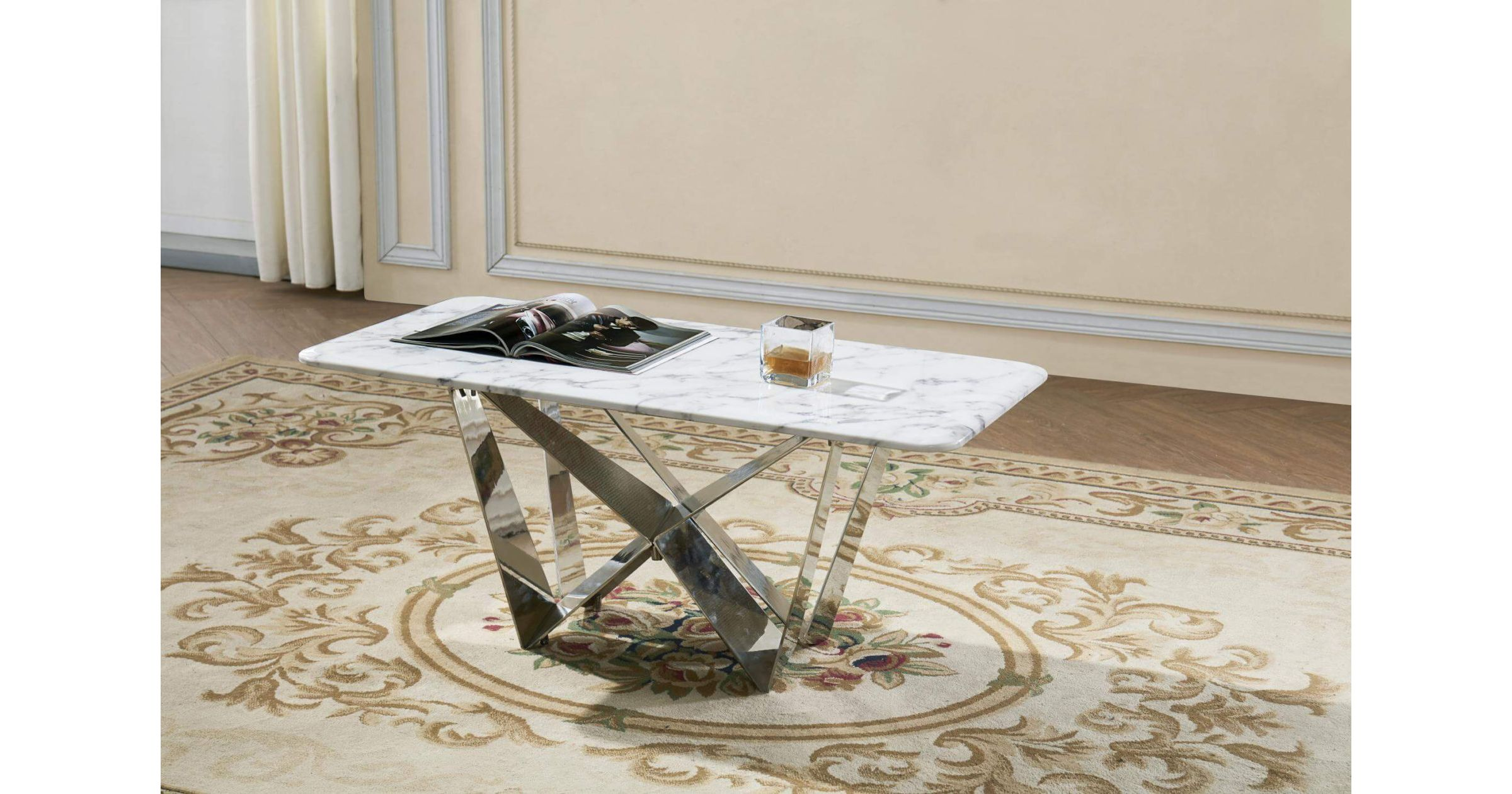 Picture of: Kristofer Natural Stone With Marble Effect Coffee Table With Stainless Steel Base Designer Sofas4u