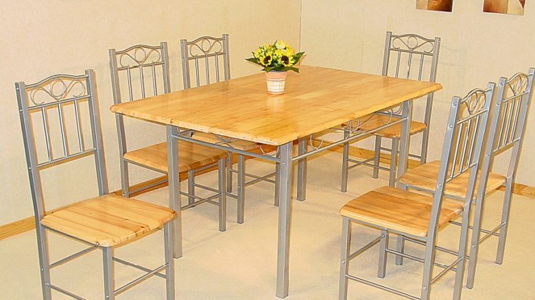 Louise Dining Table with Solid Top & 6 Solid Seat Chairs