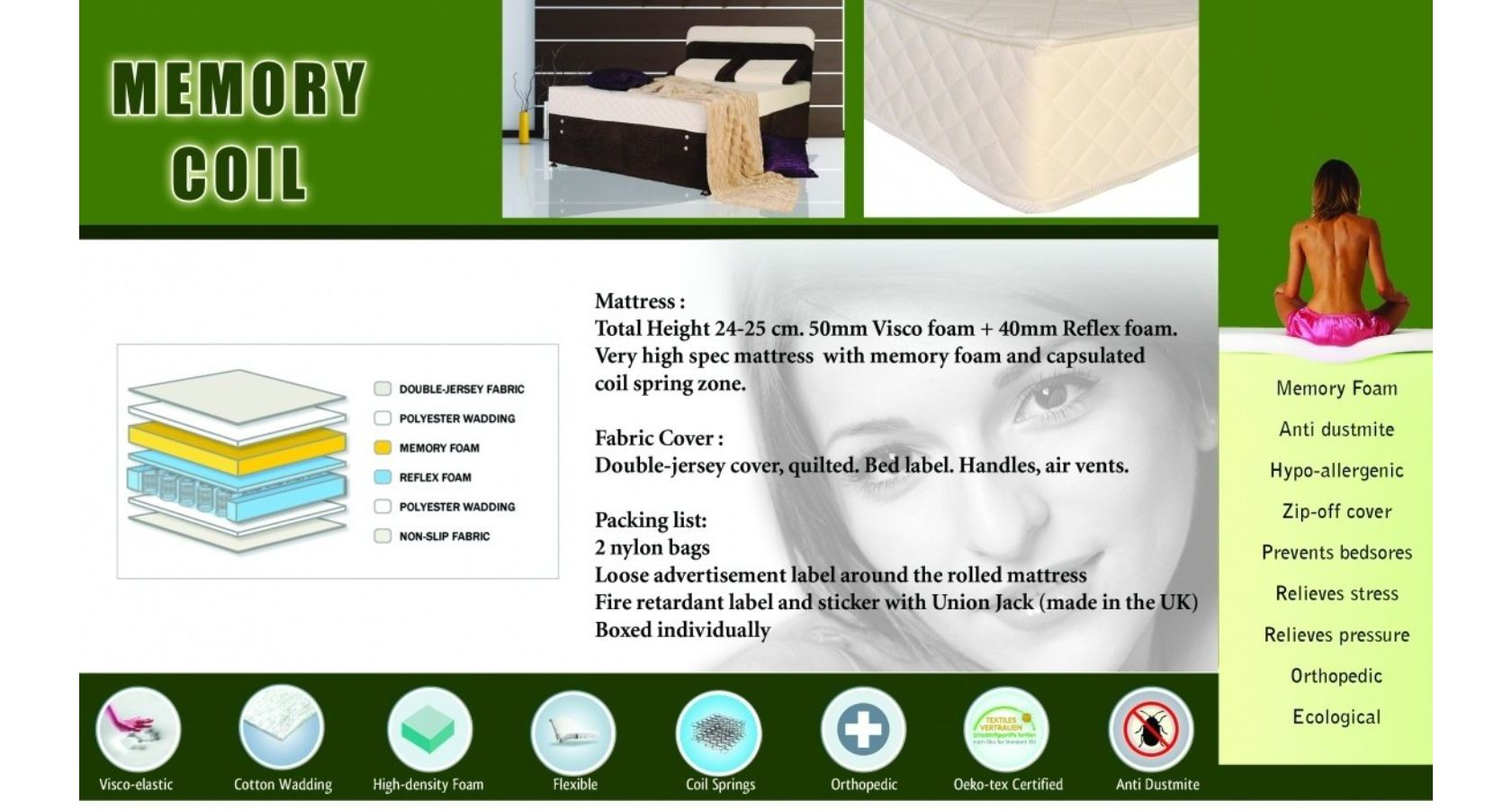 Memory Coil Mattress Double