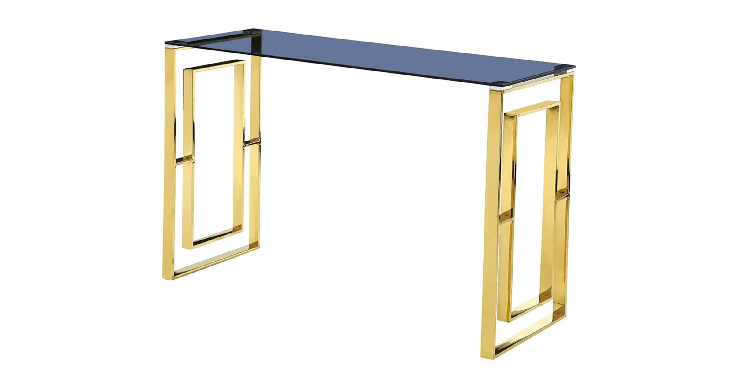Picture of: Matias Grey Glass Top Console Table With Gold Frame Designer Sofas4u